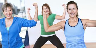 Women enjoying exercise class together - 1