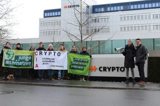 Protestaktion Crypto Junge Alternative