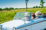 Two Mature Women on Roadtrip with Old-fashioned Car - 1